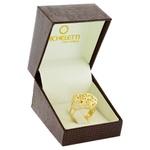 Anel Ouro 18K Coração Flores Diamantado