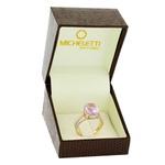 Anel de Ametista Ouro Rosé 18K com Brilhantes