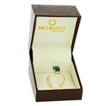 Anel de Ouro 18K Pedra Topázio Verde e Brilhantes