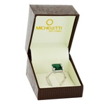 Anel de Ouro Branco 18K Pedra Topázio Verde e Brilhantes