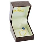 Anel Ouro 18K Pedra Topázio London Blue e Brilhantes