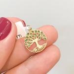 Pingente Árvore da Vida em Ouro 18K com Pedras de Esmeralda