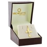 Pingente Crucifixo Ouro 18K Chapa Bicolor