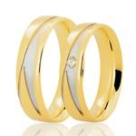 PAR de Aliança Bruner Bicolor com Brilhantes Ouro 18K