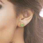 Brinco de Coração Verde Topázio em Ouro 18K
