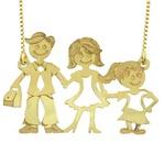 Gargantilha com Pingente em Ouro 18k Família Feliz Casal com Filha