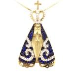 Pingente Nossa Senhora Aparecida com Zirconias Azuis e Brancas em Ouro 18K