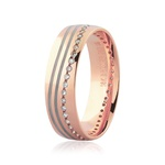 Aliança de Ouro Rosé 18K Detalhe Pigmentado e Brilhantes 5,5 mm