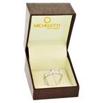 Anel de Ouro Branco 18K com Flores Diamantadas