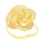 Anel de Flor em Ouro 18K Pétalas Espiral