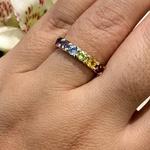 Anel Meia Aliança Pedras Naturais Coloridas Ouro 18K