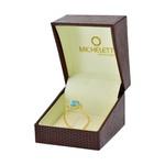 Anel de Ouro 18K Topázio Azul Oval e Topázios Brancos