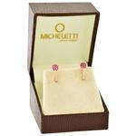 Brinco de Ouro Rosé 18K Bolinhas com Flores de Safira Rosa