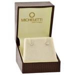 Brinco Ouro Branco 18K Cartier de Zircônia 3mm