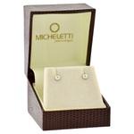 Brinco de Ouro Branco 18K Meia Bola 3mm Diamantado
