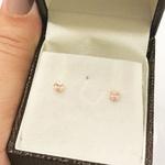 Brinco de Ouro 18K Zirconia Rosa 3mm