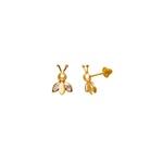 Brinco Infantil Abelha com Zirconia em Ouro 18K