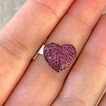 Pingente Coração Cravejado de Rubis em Ouro 18K