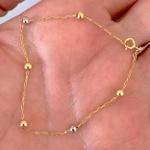 Pulseira Infantil Cartier de Bolinhas Ouro 18K Tricolor