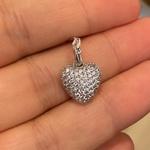 Pingente de Ouro Branco 18K Coração com Zircônias