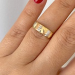 Anel de Ouro 18K Detalhes V Tricolor