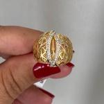 Anel de Ouro 18K Triângulos Vazados com Brilhantes