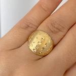Anel de Ouro 18K Fosco Estrelas Diamantadas