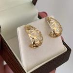Brinco de Ouro 18K Triângulos Vazados com Brilhantes
