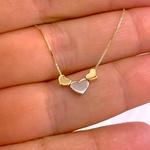 Gargantilha de 3 Corações Bicolor Ouro 18K