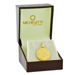 Pingente Ouro 18K Medalha de São Bento Grande 18mm