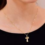 Pingente Cruz de São Francisco com Brilhantes Ouro 18K