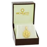Pingente de Ouro 18K Redondo Trabalhado com Flores Diamantadas