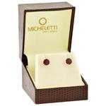 Brinco de Ouro 18K Pedra Rodolita 6mm
