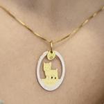 Pingente Cachorro Yorkshire Bicolor em Ouro 18K