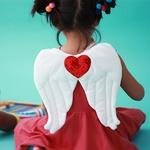 asa anjo coração paete vermelho
