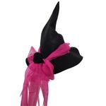 Chapéu bruxa feltro Preto e pink