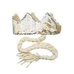 Coroa com trança Prata fosco e off white