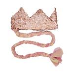 Coroa com trança Rosa brilho e candy
