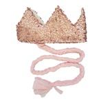 Coroa com trança Rosa brilho e rosa bebe