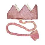 Coroa com trança Rosa fosco e candy