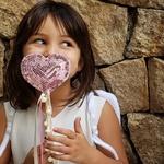Varinha paetê love rosa