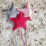 Varinha estrela veludo pink