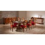 Sala de Jantar Gold com Mesa de 2,50m Tampo de Vidro e 02 Bases, 8 Cadeiras, Balcão e Aparador