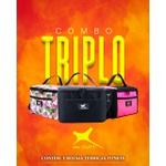 Combo Triplo Bolsa Térmica Fitness Marmita - Preto/Rosa Copia
