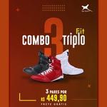 Combo Triplo Fit - 3 pares Bota Fitness Treino - Preto / Branco / Vermelho