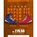 Combo Duplo Fit - 2 pares Bota Fitness Treino - Monocromos 008 Azul/Vermelha