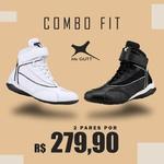 Combo Fit - Kit 2 pares Bota Fitness Treino - Preto/Branco