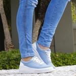 Tênis Feminino Casual Sola Alta Moderno Jeans
