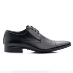 Sapato Social de Amarrar Bigione em Couro Legítimo Preto com Furos