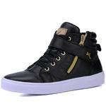 Bota Sneaker Casual Mr Gutt em Couro Legítimo Preto Liso